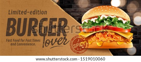 Fried chicken burger banner ads on glitter brick wall in 3d illustration