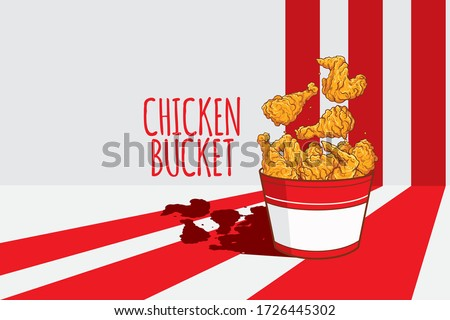 Fried chicken legs and wings bucket on red stripes vector background. Chicken bucket vector banner with bucket of fried chicken legs, wings and drumsticks.