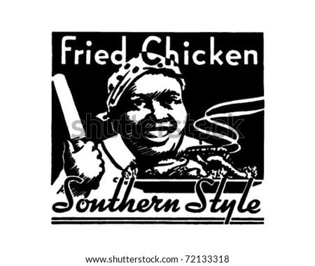 Fried Chicken - Retro Ad Art Banner