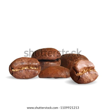 Fried coffee beans. Fragrant coffee. Robusta. Vector illustration. Arabic. Coffee ingredients in triangulation technique. Coffee low poly.