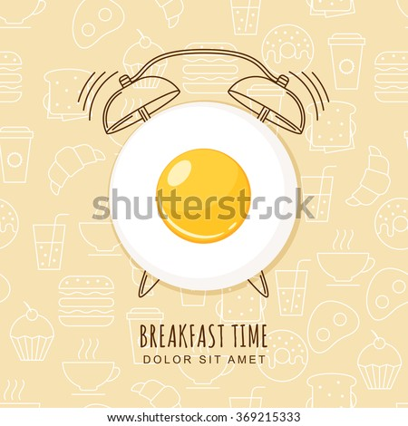 fried egg and outline alarm