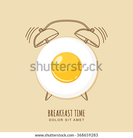 Fried egg and outline alarm clock, vector illustration of breakfast. Concept for breakfast menu, cafe, restaurant.  Logo design template. Food background.