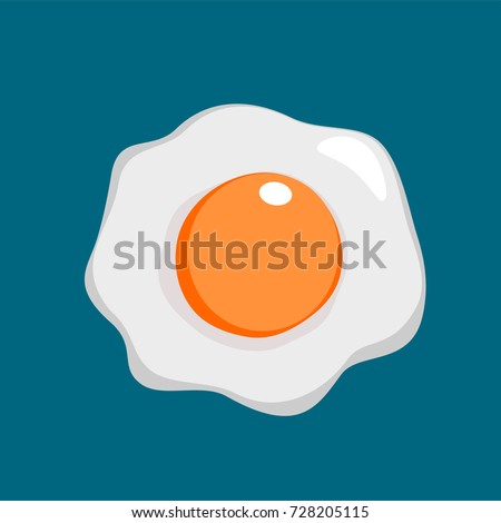 Fried egg. Fried egg flat icon. Fried egg closeup