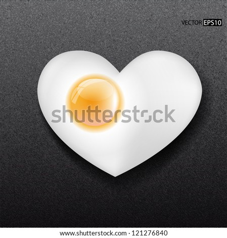 fried egg like heart on frying