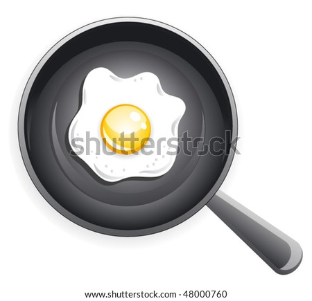 Fried egg on frying pan. Vector
