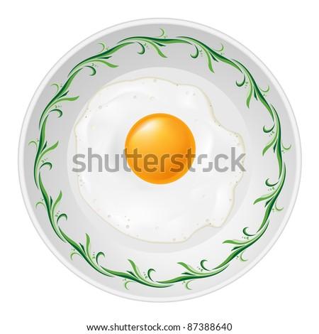 Fried egg on plate. Illustration on white background