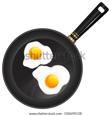 Fried eggs on pan with handle, food ingredients, vector illustration
