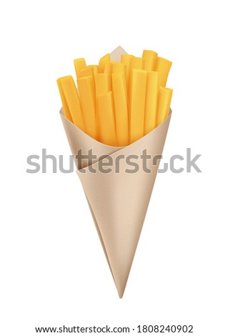 Fried French fries in cone paper cone bag, snack packaging, craft paper for street food. Vector icon.