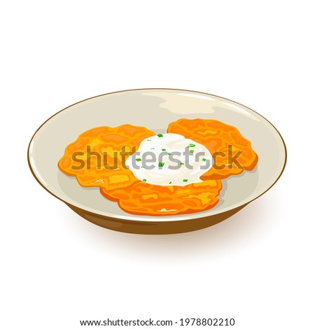 Fried hash browns with golden tasty crust served with sour cream on plate. Vector delicious ukrainian dish, ethnic food, cooking idea isolated on white background Stock photo ©