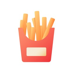 Fried potato sticks vector flat color icon. French fries for take away. Take out order of junk food. Fast delivery. Cartoon style clip art for mobile app. Isolated RGB illustration