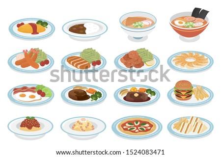 Fried shrimp, tonkatsu, deep-fried chicken, grilled dumplings Omurice, curry rice, ramen, udon Fried egg, hamburger, steak, hamburger Tomato spaghetti, carbonara, margherita, sandwich