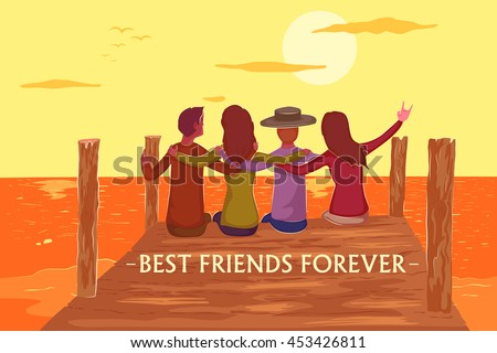 Friend celebrating Happy Friendship Day in vector