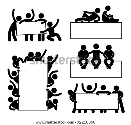 Friend Community Teammate Holding Showing Empty Blank Banner Icon Symbol Sign Pictogram