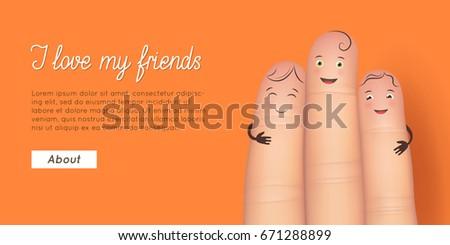 friend finger poster card for