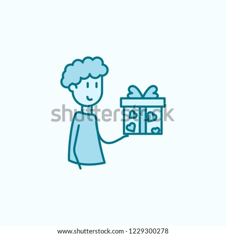 friend gives a gift 2 colored line icon. Simple colored element illustration. friend gives a gift outline symbol design from friendship set