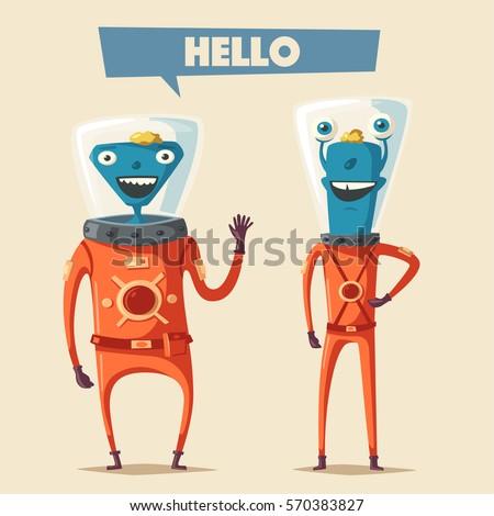 friendly aliens cartoon vector