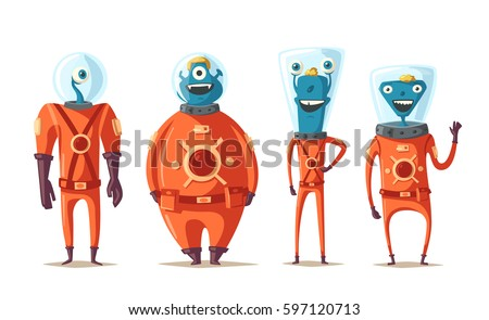 friendly aliens cartoon vector