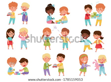 Friendly and Hostile Kids Playing Together Vector Illustrations Set Foto stock ©