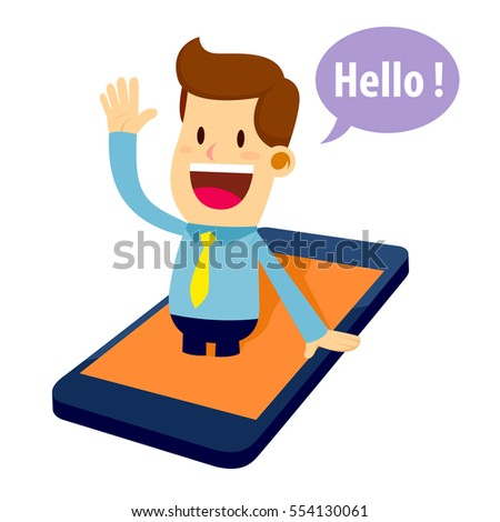 Friendly businessman virtual assistant popping out from smart phone