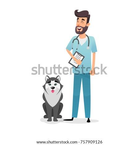 friendly cartoon veterinarian