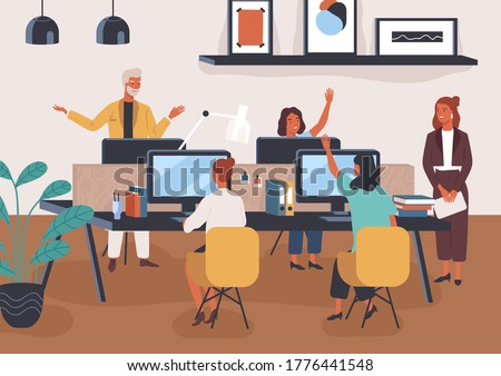 Friendly colleagues taking part in voting raising hand at modern co working space vector flat illustration. Group of smiling employees discussing work together. People sitting at desk with computers