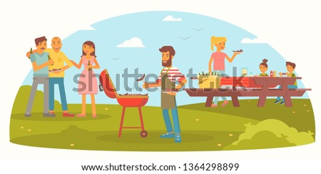Friendly family on picnic flat color illustration. Cheerful men, women and children cartoon characters. Summer vacation flat color drawing. BBQ party. Outdoor leisure, camping banner