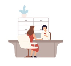Friendly female bank worker providing services to customer vector flat illustration. Woman client sitting and talking to manager at credit department. Cartoon people at payment office