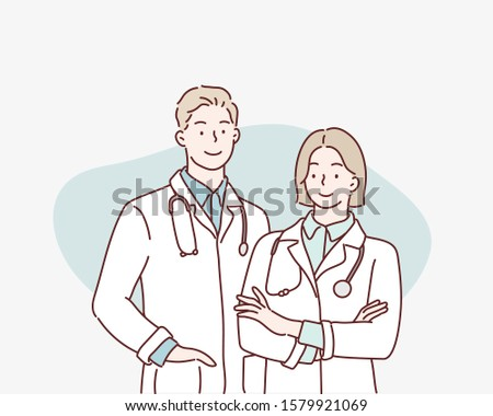 Friendly Male and Female Doctors. Hand drawn style vector design illustrations.