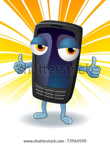 Friendly mobile phone character. Vector illustration.