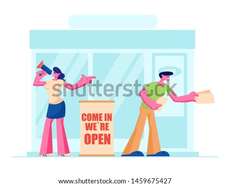 Friendly Promoters Giving Invitation Flyers at Store Entrance for Shop Open Event, Young Man and Woman with Megaphone Inviting People to Visit Boutique, Marketing. Cartoon Flat Vector Illustration