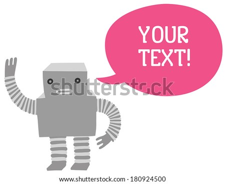 friendly robot waving with a