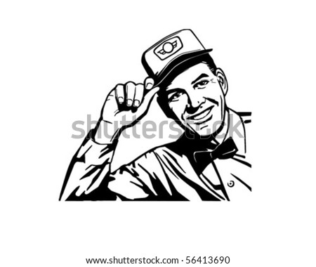 Friendly Service Man - Retro Clip Art