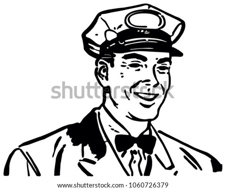 Friendly Service Man 3 - Retro Clip Art Illustration