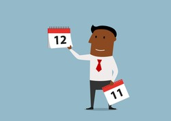 Friendly smiling cartoon businessman holding last page of wall calendar. Last month of the year or important date concept