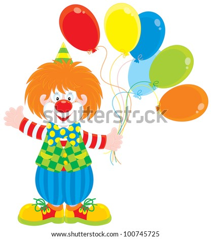Friendly smiling red circus clown holding colorful balloons and waving in greeting
