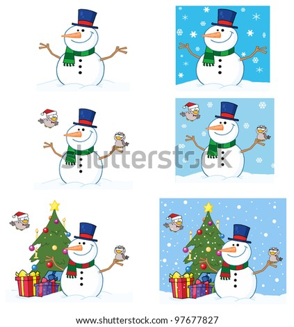 Friendly Snowman With A Cute Birds. Vector Collection