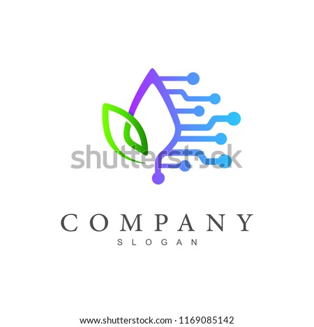friendly technology logo template,leaf + tech icon