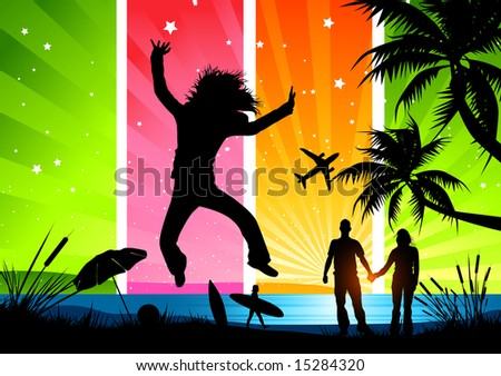 Friends and family having fun in the sun! More in this range can be found in my gallery. - stock vector