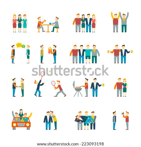 Friends and friendly relationship social team flat icon set isolated vector illustration