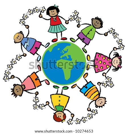 friends around the world AFRICA and EUROPE (vector) - stock vector