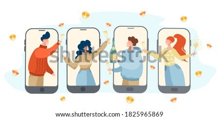 Friends celebrating the new year online. Party online, video call. New Year's card. Quarantine, isolation. Vector illustration.