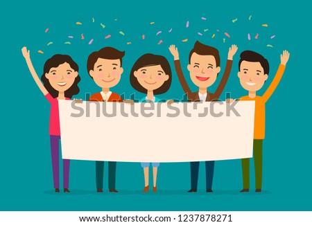 Friends congratulate on holiday. Congratulation, felicitation concept. Cartoon vector illustration Stockfoto ©