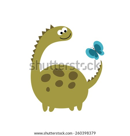 friends  dinosaur and butterfly