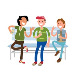 Friends drinking beer. Bachelor party concept  Three Male Friends Enjoying of Drinking Beer  Outdoor . Colorful vector illustration in flat style.Isolated
