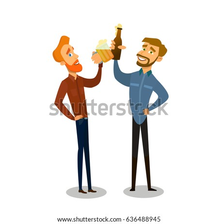 Friends drinking beer .Happy male friends drinking beer and clinking glasses at bar or pub.Vector illustration in a flat style.