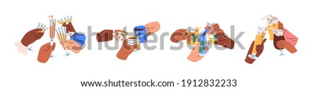 Friends hands holding glasses and mugs with champagne, wine, beer, cocktail and tea, and cheers or drinking toast to friendship. Colored graphic flat vector illustration isolated on white background