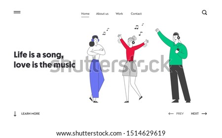 Friends Having Fun Leisure Website Landing Page. Young Girls and Man Wearing Headset Listening Music. Fans Dancing Clubbing in Night Club. Web Page Banner. Cartoon Flat Vector Illustration, Line Art