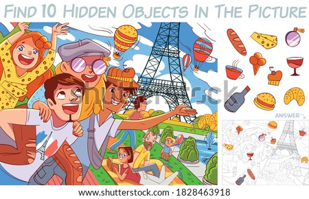 Friends in Paris against the background of the Eiffel Tower. Find 10 hidden objects in the picture. Puzzle Hidden Items. Funny cartoon character