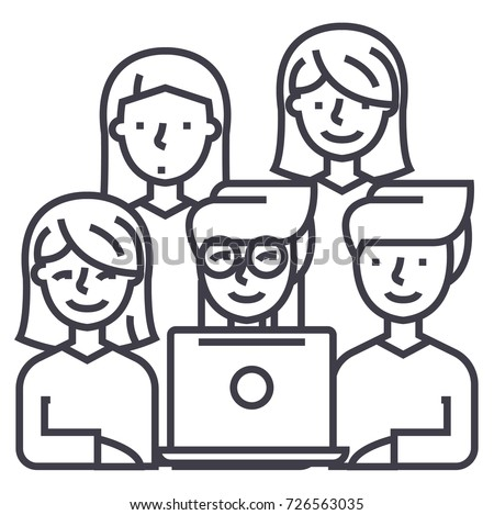 friends looking at notebook vector line icon, sign, illustration on background, editable strokes