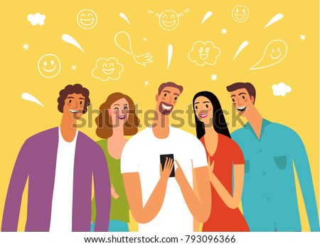 Friends looking video and laughing. Cartoon portraits. Joke and fun illustration.